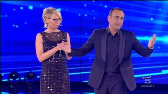 Sanremo 2017: Maria De Filippi con Carlo Conti al Teatro Ariston