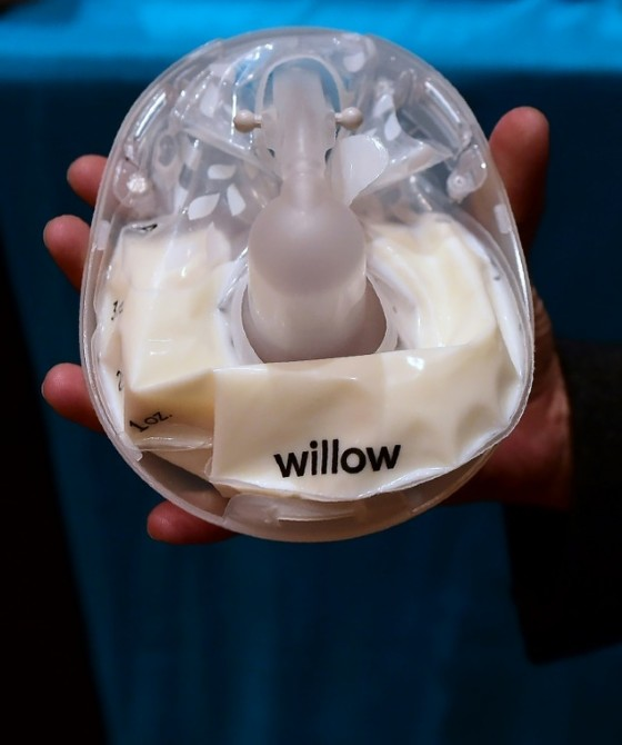 The smart breast pump from Willow, billed as quiet enough to use in a conference call, is displayed at the 2017 Consumer Electronic Show