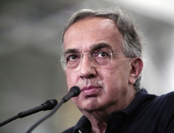 Fiat Chrysler Automobiles CEO Sergio Marchionne answers questions from the media at the FCA Sterling Stamping Plant in Sterling Heights, Michigan, in August 2016