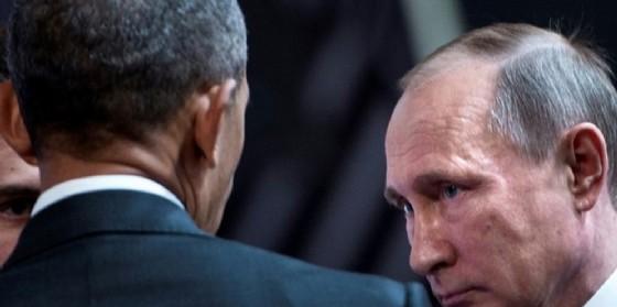 Il presidente Usa uscente Barack Obama con il presidente russo Vladimir Putin.