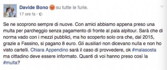 Lo sfogo di Davide Bono su Facebook