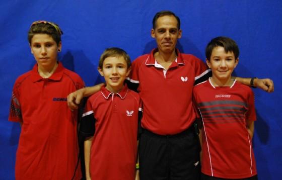 La formazione A di D2: Giulio Proverbio, Marco Solesio, Eric Acquadro e Luca Formagnana (© Tennis Tavolo Biella)