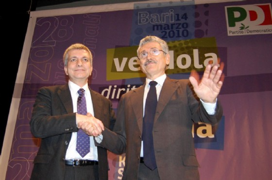 L'ex premier, Massimo D'Alema e l'ex governatore della Pugli, Nichi Vendola