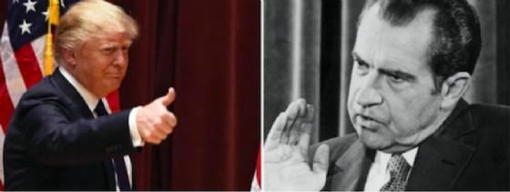 Il presidente Usa Donald Trump e l'ex presidente Richard Nixon