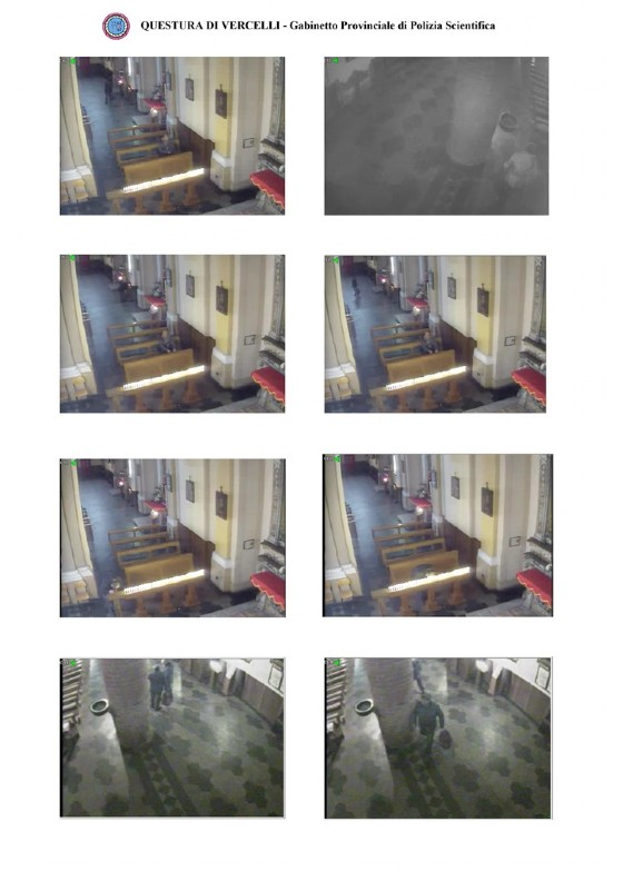 Fotogrammi dei movimenti dell'uomo dentro la chiesa