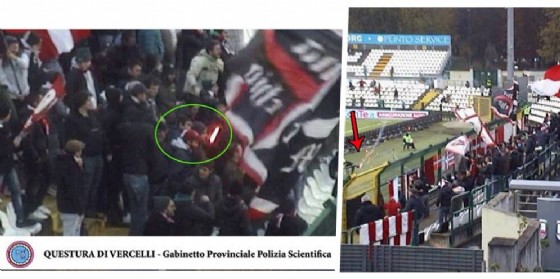 Immagini dei tifosi del Vicenza (© Polizia di Stato Vercelli)