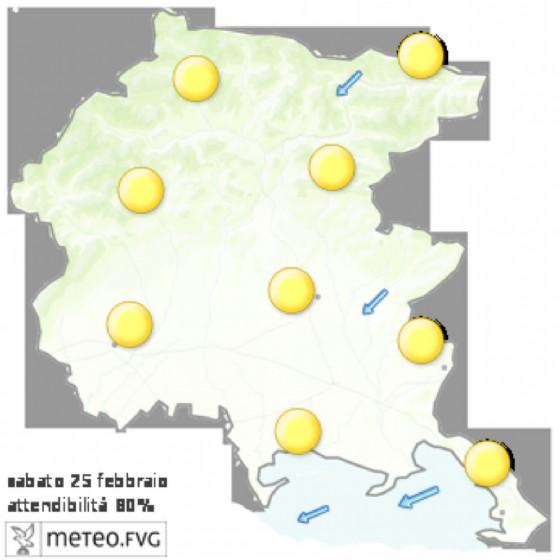 Le previsioni per sabato 25 febbraio (© Osmer Fvg)