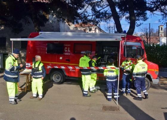 Volontari della Protezione civile, ad Andorno Micca ieri (© Diario di Biella (M))