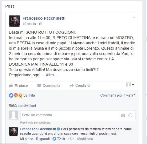 Il post con lo sfogo di Francesco Facchinetti