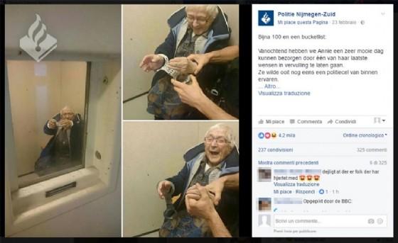 La nonna Annie tutta contenta del suo 'arresto'