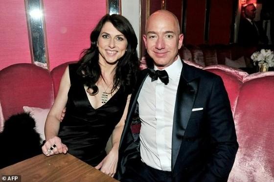 CEO of Amazon Jeff Bezos (R) and writer MacKenzie Bezos attend the Amazon Studios Oscar Celebration at Delilah on February 26, 2017 in West Hollywood, California