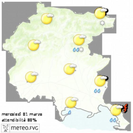 Le previsioni per mercoledì 1 marzo (© Osmer Fvg)