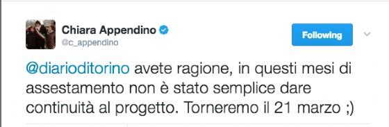 La Giunta torna in diretta il 21 marzo, ce lo annuncia Chiara Appendino