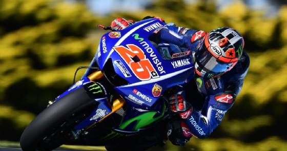 Maverick Vinales in azione sulla Yamaha nei test di Phillip Island (© Michelin)
