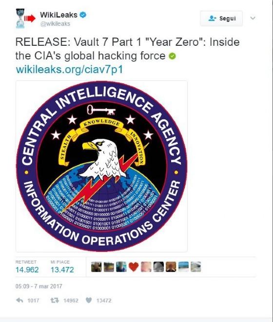 La pagina Twitter di WikiLeaks