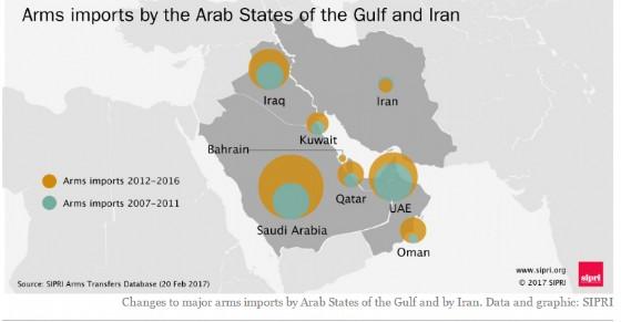 Armi importate dagli Stati del Golfo e dall'Iran.