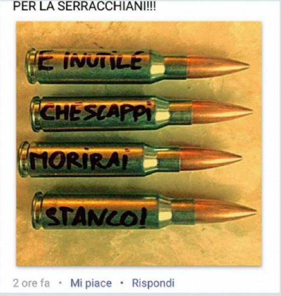 I bossoli pubblicati su Facebook dall'ex poliziotto (© Deborah Serracchiani)
