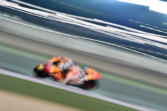 Marc Marquez oggi in pista in Qatar con la sua Honda
