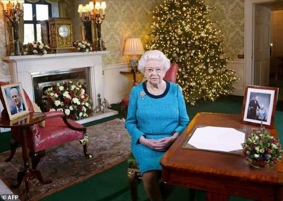 Britain's Queen Elizabeth II sits in the Regency Room in Buckingham Palace in London after recording her Christmas Day broadcast to the Commonwealth