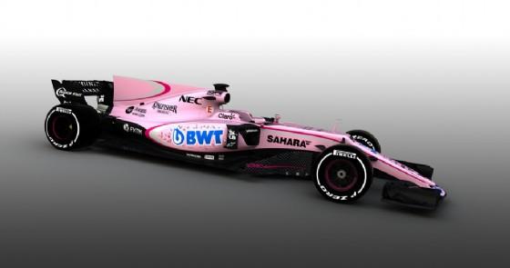 La nuova livrea rosa della Force India (© Force India)
