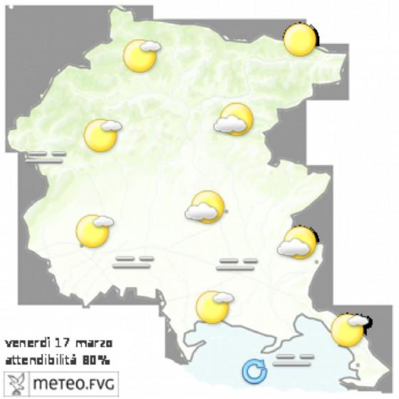 Che tempo farà venerdì 17 marzo? Ve lo dice l'Osmer Fvg (© Osmer Fvg)