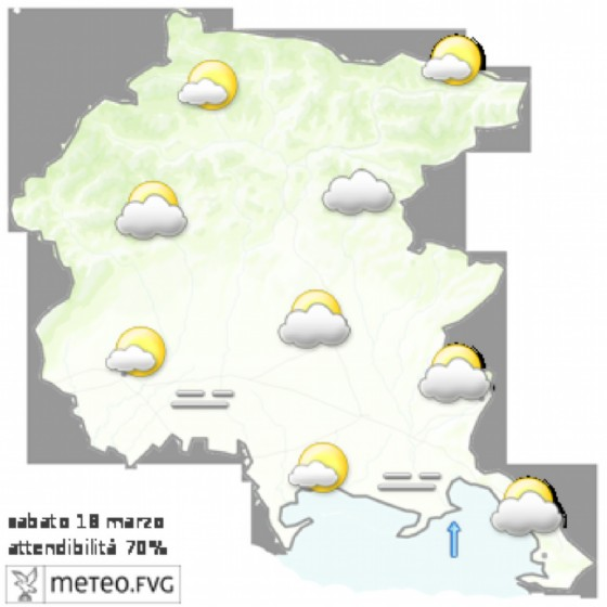 Le previsioni per sabato 18 marzo (© Osmer Fvg)