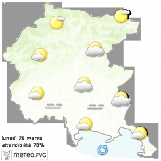 Le previsioni per lunedì 20 marzo (© Osmer Fvg)