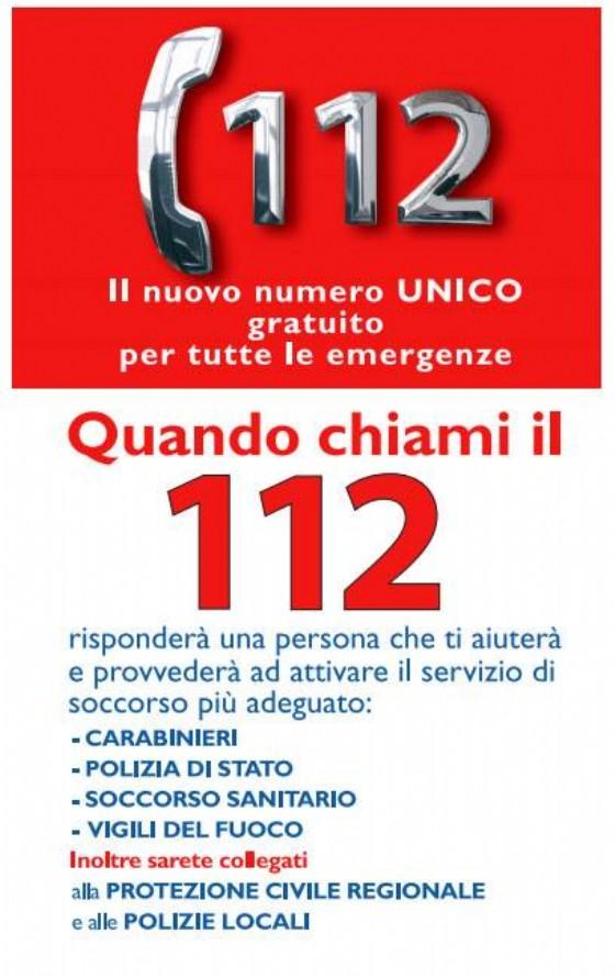 Il nuovo numero unico per le emergenze, il 112
