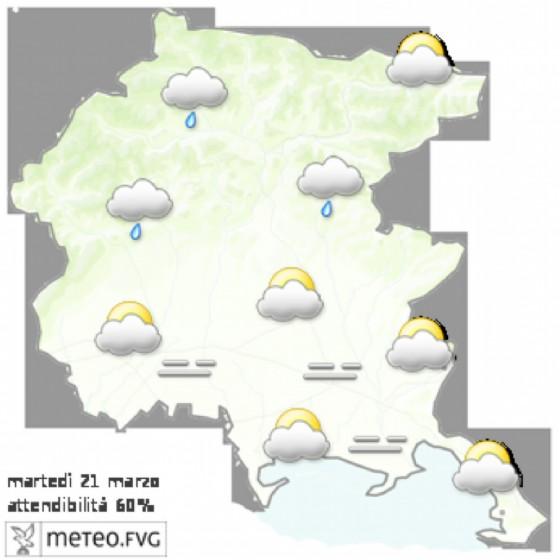 Le previsioni per la giornata di martedì (© Osmer Fvg)