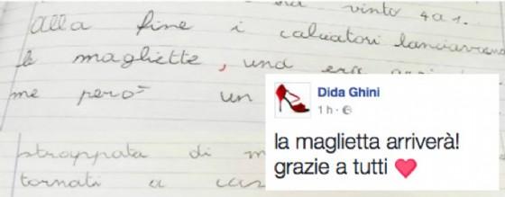 Il tema scritto dal ragazzo  e il messaggio su Fb della maestra (© Diario di Udine)
