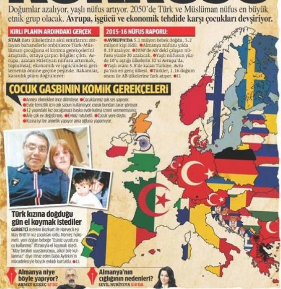 La carta della composizione etnica dell'Europa proposta dal giornale turco Star.