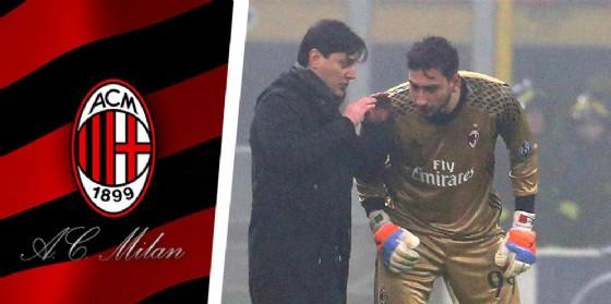 Montella e Donnarumma sembrano confabulare sul futuro del Milan