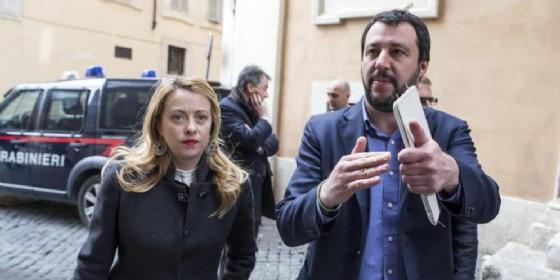 Il leader della Lega Nord, Matteo Salvini, e la leader di FdI, Giorgia Meloni. (© ANSA)