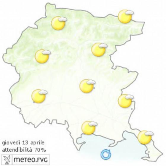 Le previsioni per la giornata di giovedì (© Osmer Fvg)