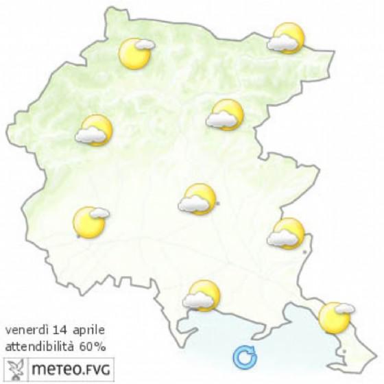 Le previsioni per la giornata di venerdì (© Osmer Fvg)
