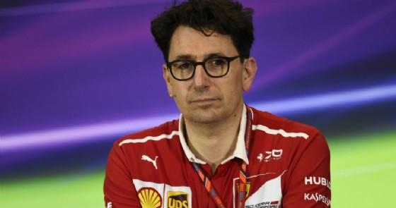 Il direttore tecnico Mattia Binotto in conferenza stampa in Bahrein