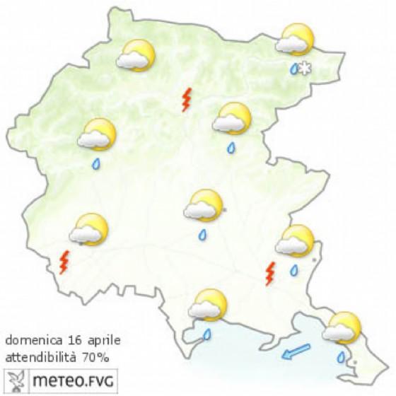 Le previsioni per la giornata di domenica (© Osmer Fvg)