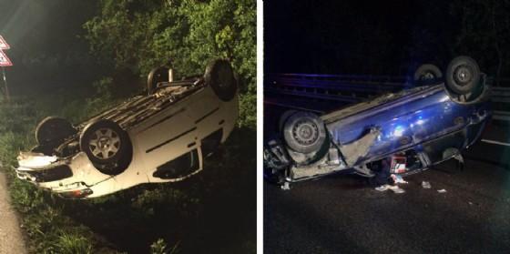 Le due auto finite ruote all'aria (© Diario di Udine)