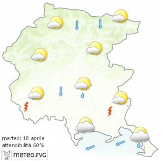 La previsione per la giornata di martedì (© Osmer Fvg)