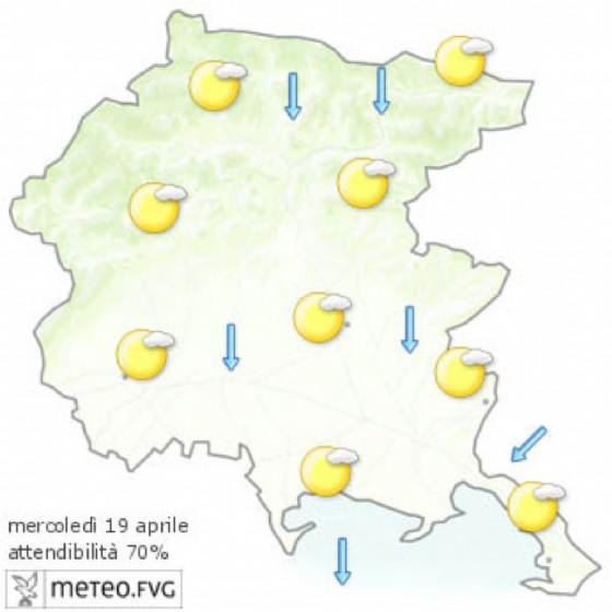 Le previsioni per la giornata di mercoledì (© Osmer Fvg)