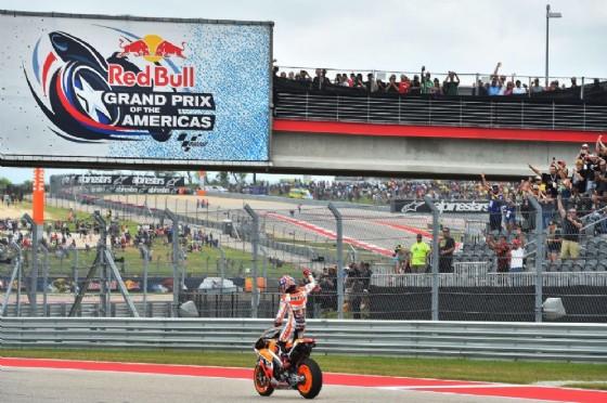 Marc Marquez festeggia la vittoria nel GP degli Stati Uniti 2016