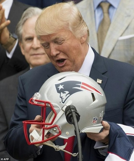 President Donald Trump makes the most of a friendly visit from the Patriots football team following their against-the-odds Super Bowl win
