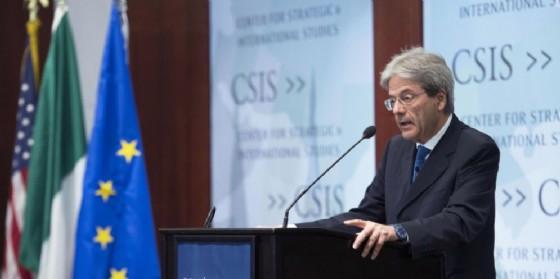 Il premier Paolo Gentiloni al convegno CSIS a Washington. (© ANSA / Tiberio Barchielli)