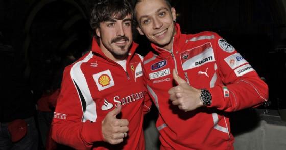 Fernando Alonso e Valentino Rossi (© Ducati)