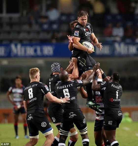 The Sharks' Etienne Oosthuizen wins a line-out ball during their Super Rugby match against the Rebels, at Kingspark stadium in Durban, on April 22, 2017