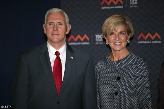 US Vice President Mike Pence (L) poses for a photo next to Australian Foreign Minister Julie Bishop during a visit to the Australian Museum in Sydney, on April 22, 2017