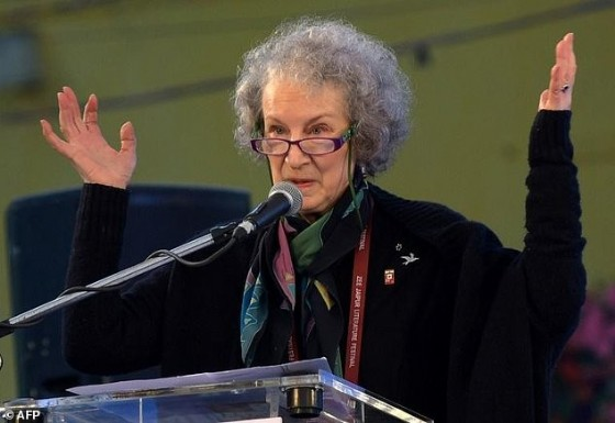 Canadian novelist Margaret Atwood speaks at the Jaipur Literature Festival in 2016