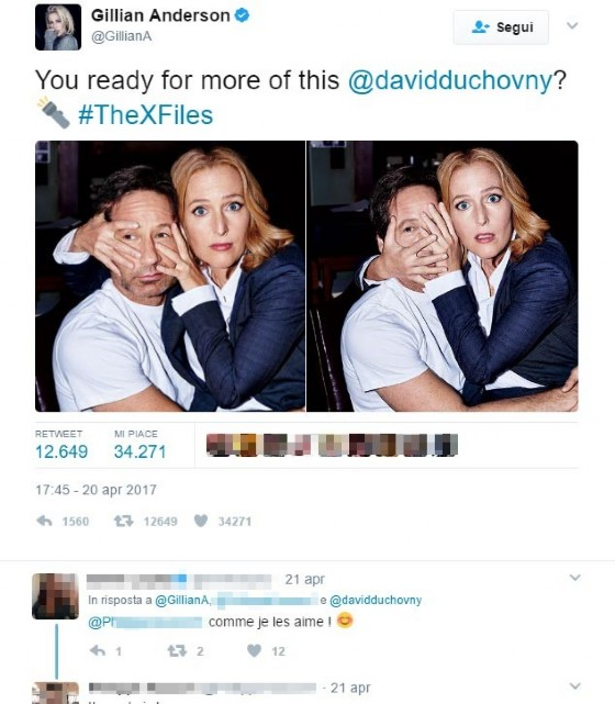 Il tweet di Gillian Anderson