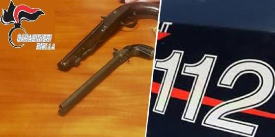 Le due antiche pistole sequestrate dai militari (© Carabinieri Biella)