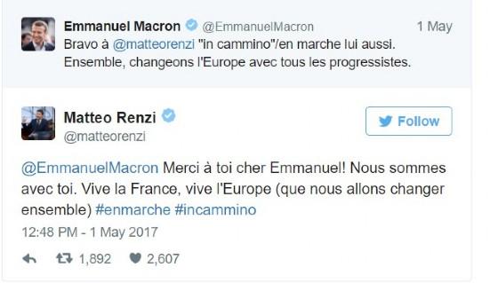 Lo scambio di tweet tra Emmanuel Macron e Matteo Renzi.